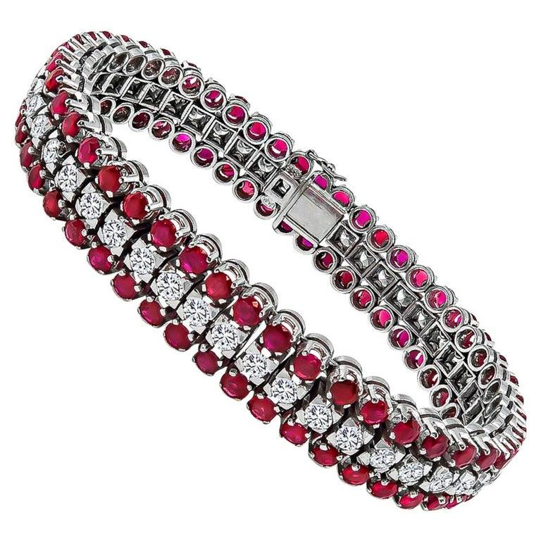 Diamond Ruby White Gold Bracelet For Sale