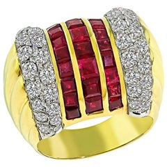 Diamond Ruby Yellow and White Gold Ring