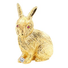 Diamond Ruby Yellow Gold Bunny Rabbit Brooch