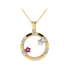 Diamond Ruby Yellow Gold Circle Pendant Necklace