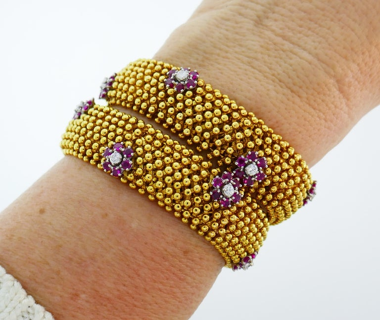 Diamond Ruby Yellow Gold Couscous Bracelet Pair, 1970s 3