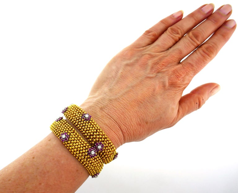 Diamond Ruby Yellow Gold Couscous Bracelet Pair, 1970s 4