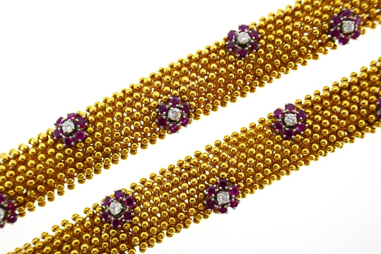 Diamond Ruby Yellow Gold Couscous Bracelet Pair, 1970s 6