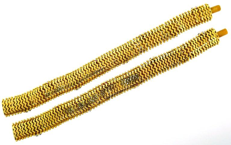 Diamond Ruby Yellow Gold Couscous Bracelet Pair, 1970s 7