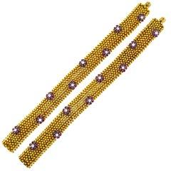 Diamond Ruby Yellow Gold Couscous Bracelet Pair, 1970s
