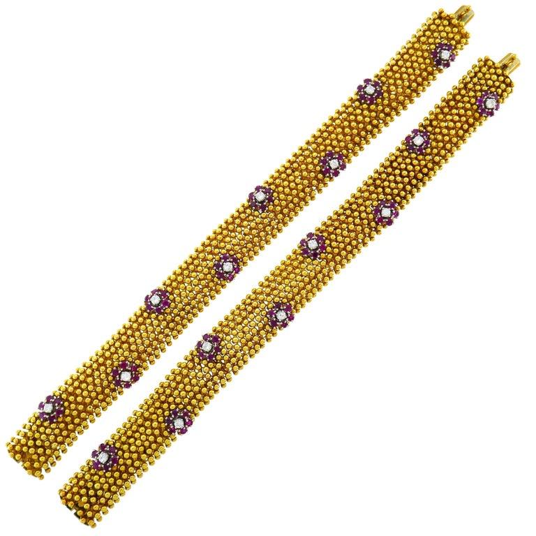 Diamond Ruby Yellow Gold Couscous Bracelet Pair, 1970s 1