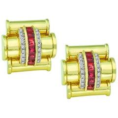 Diamond Ruby Yellow Gold Earrings