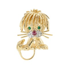 Diamond Ruby Yellow Gold Lion Brooch