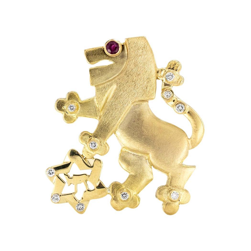 Diamond Ruby Yellow Gold Lion Brooch Pendant