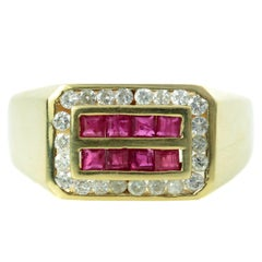 Diamond Ruby Yellow Gold Rectangular Men's Ring