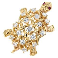 Diamond Ruby Yellow Gold Turtle Brooch
