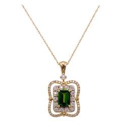 Diamond Russalite Emerald Cut Pendant Necklace Natural Genuine Green Russalite