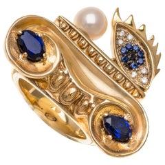 DELFINA DELETTREZ Diamond Sapphire 18 Karat Gold Cocktail Ring