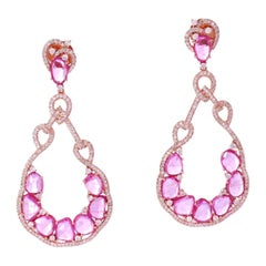 Diamond Sapphire 18 Karat Gold Earrings