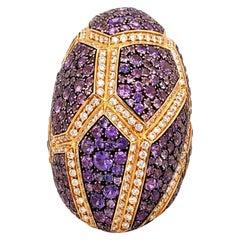 Diamond Sapphire 18 Karat Yellow Gold Ring by Palmiero
