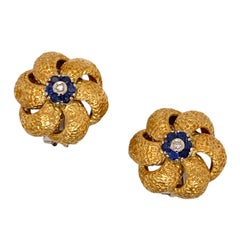 Diamond Sapphire 18 Karat Yellow Gold Textured Floral Vintage Ear Clip Earrings