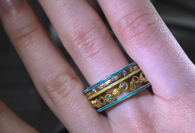 Diamond Sapphire 18K, 22K Gold Silver Ring Stack Fashion Wedding Gift for Her In New Condition For Sale In New York, NY