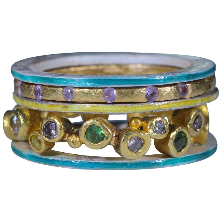 Diamond Sapphire 18K, 22K Gold Silver Ring Stack Fashion Wedding Gift for Her For Sale