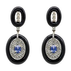 Diamond, Sapphire, and Black Onyx Drop Earrings