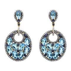 Diamond, Sapphire, and Blue Topaz Drop Earrings in Art-Deco Style