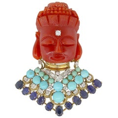 Diamond, Sapphire and Coral Buddha Inspired Pin Pendant