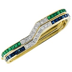 Diamond, Sapphire and Emerald Bangle Set