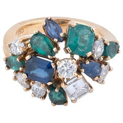 Diamond, Sapphire and Emerald Cluster Ring