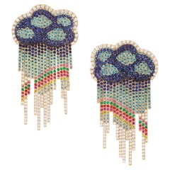Rosior one-off earings in Yellow Gold, Diamonds, Sapphires and Emeralds