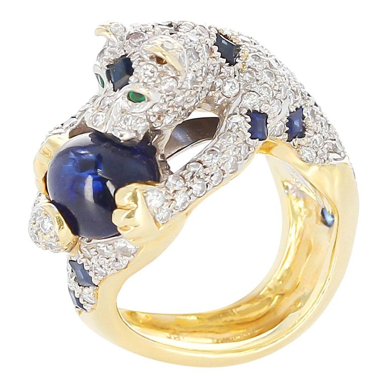 Diamond, Sapphire, and Emerald Panther Ring, 18 Karat Gold For Sale
