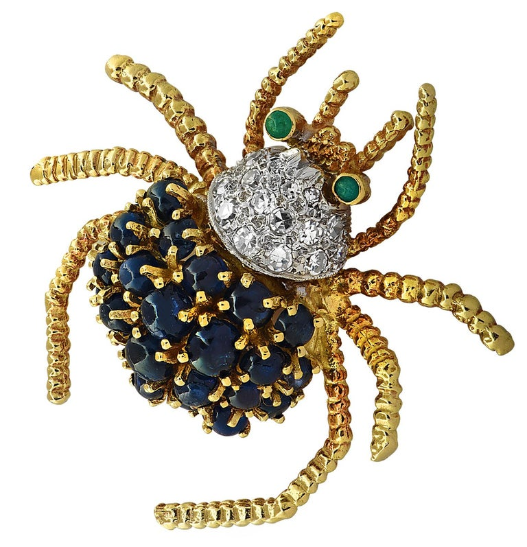 Modern Diamond, Sapphire and Emerald Spider Brooch Pin For Sale