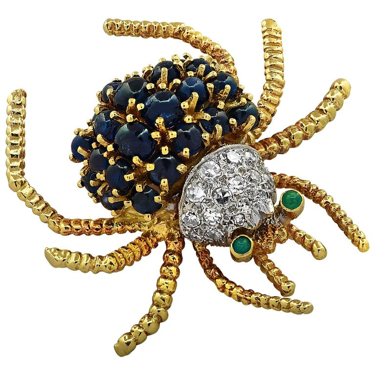 Diamond, Sapphire and Emerald Spider Brooch Pin For Sale