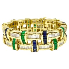 Diamond, Sapphire and Emerald Wide 18 Karat Bracelet by Charles Krypell
