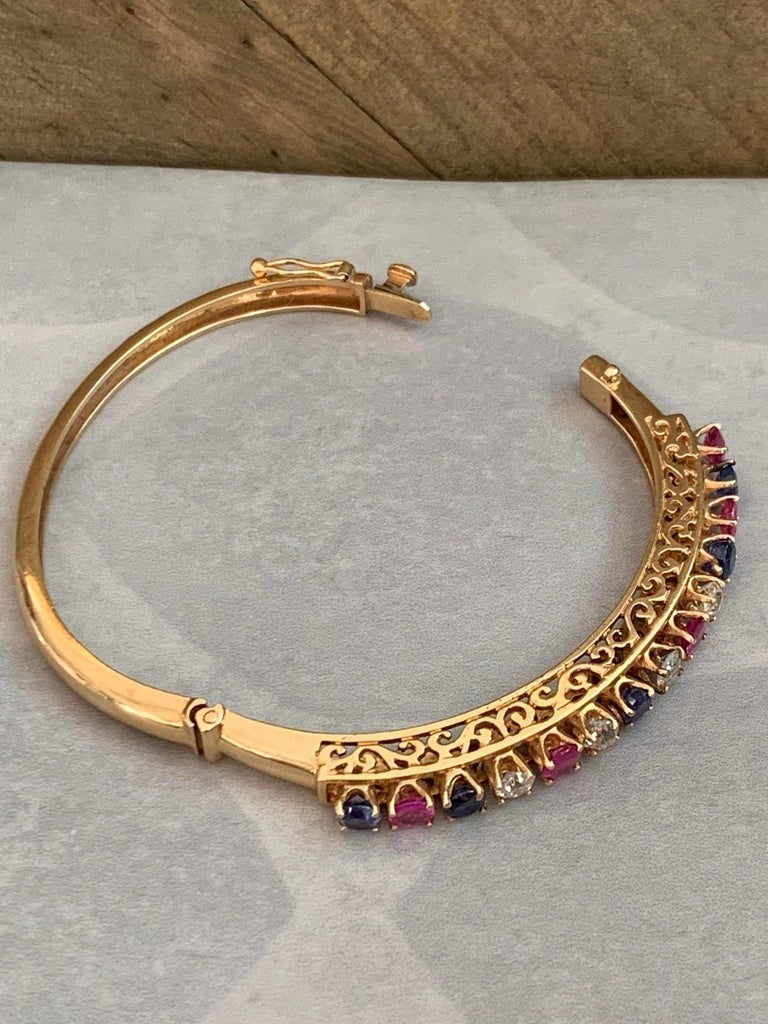Round Cut Diamond, Sapphire and Ruby 14 Karat Gold Bangle Bracelet For Sale