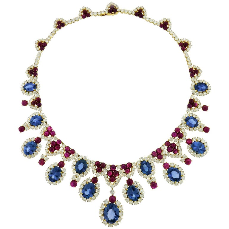 Diamond, sapphire, ruby and 18-karat white-gold fringe necklace, 21st century, offered by Essex Global Trading