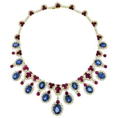 Bulgari Diamond Sapphire Ruby 18 Karat White Gold Fringe Necklace