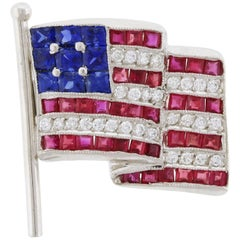 Diamond, Sapphire and Ruby American Flag Pin/Brooch