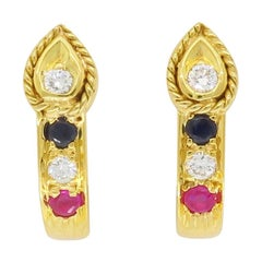 Diamond, Sapphire, and Ruby High Karat Gold Earrings