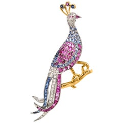 Diamond, Sapphire and Ruby Peacock Brooch