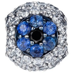 Sybarite Jewellery Diamond Charm Sapphire and 18 Karat White Gold