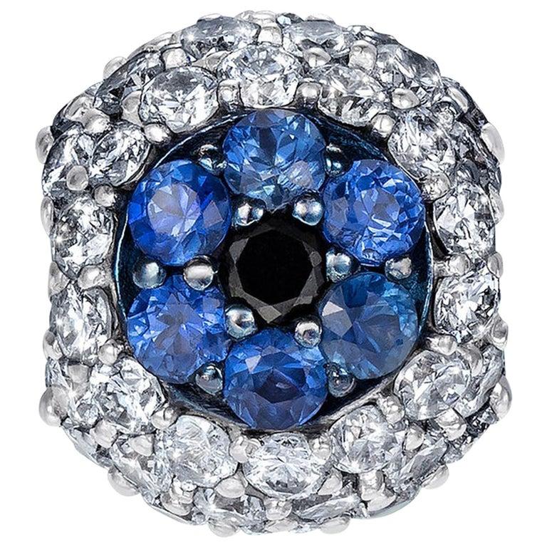 Sybarite Jewellery 0.78 Carats White Diamonds 18 Karat White Gold Charm For Sale