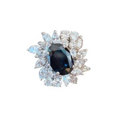 Diamond, Sapphire and White Gold Ring