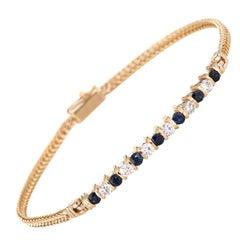 Diamond Sapphire Bar Bracelet Vintage 14 Karat Gold Estate Layering Jewelry Line