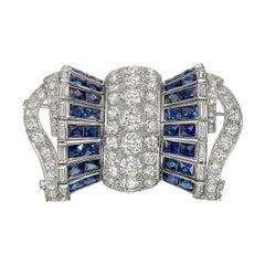 Diamond Sapphire Barrel-Shaped Bow Pin