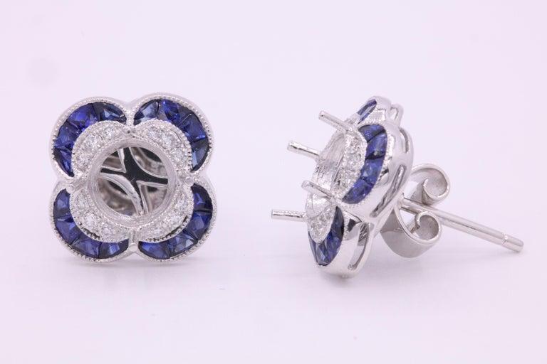 Art Deco Diamond Sapphire Bezel Earrings 1.19 Carats Platinum For Sale