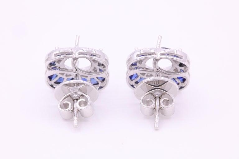 Round Cut Diamond Sapphire Bezel Earrings 1.19 Carats Platinum For Sale