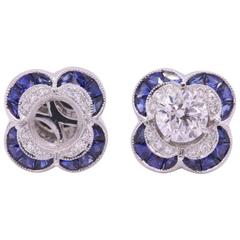 Diamond Sapphire Bezel Earrings 1.19 Carats Platinum For Sale
