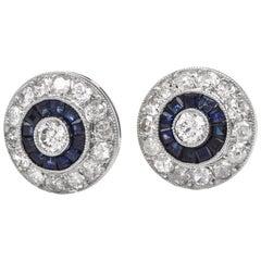 Diamond Sapphire Circular Stud Platinum Earrings