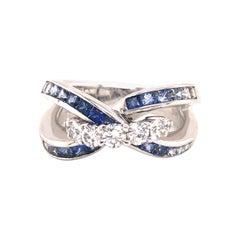 Diamond & Sapphire Criss Cross Ring 18k White Gold