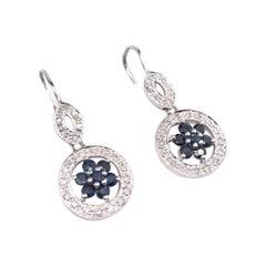 Diamond & Sapphire Dangle Earrings 14k White Gold