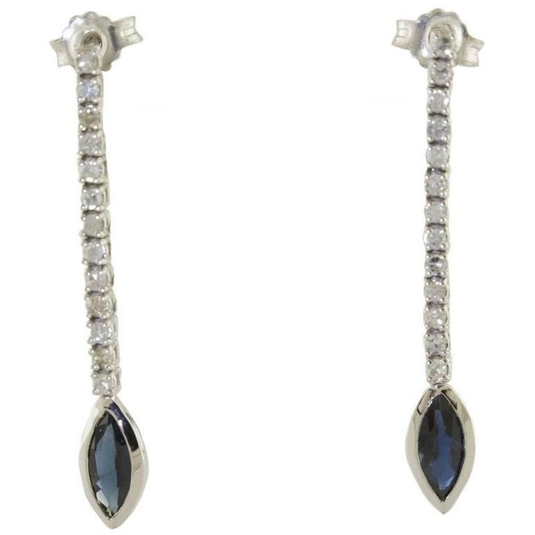 Diamond Sapphire Dangle Gold Earrings